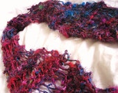 Red Multi Recycled Sari Silk Hand Knit Drop Stitch Scarf