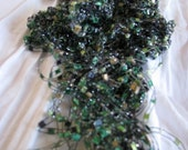 Green Forest Silver Sparkle Hand Knit Necklace Scarf - 3 for 2 on all Necklace Scarves