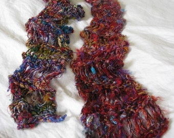 Red Multi Recycled Banana Silk Hand Knit Drop Stitch Scarf