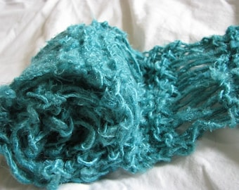 Teal Blue Hand Knitted Recycled Banana Silk Drop Stitch Scarf