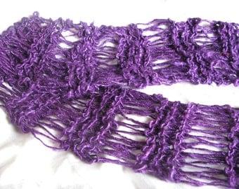 Purple Velvet Recycled Banana Silk Hand Knit Scarf
