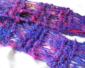 Purple and Pink Recycled Sari Silk Hand Knit Scarf