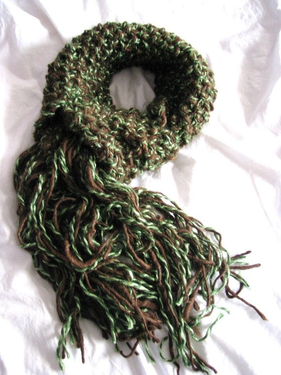 SALE - Forest Glade Alpaca, Wool, Silk Soft Moss Stitch Scarf