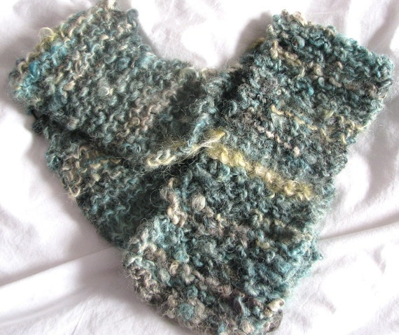 SALE - Sea Green and Gold Hand Knitted Soft Warm Short Scarf