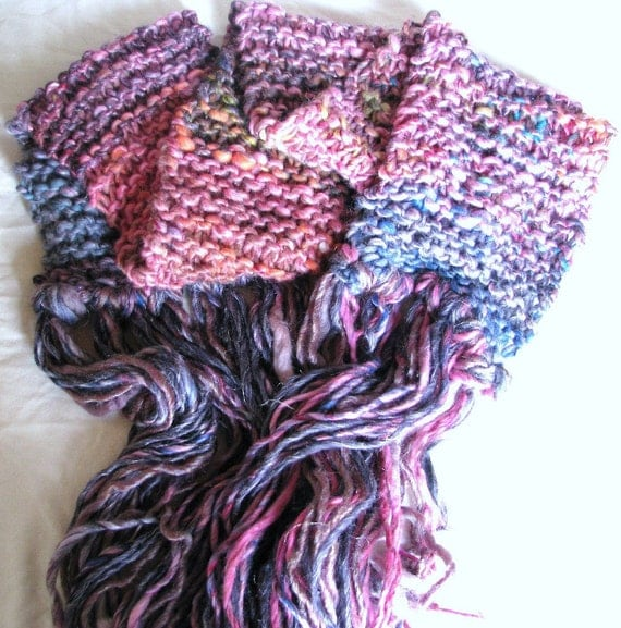 SALE - Carnevale Hand Knitted Long Soft Warm Merino Mix Wraparound Scarf