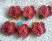 Valentine's Day Crochet Red Rose Barrettes
