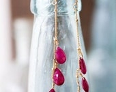 3 Drop Ruby Dangle Earrings
