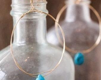 Gold Hoop Earrings with Turquoise,Turquoise Hoop Earrings