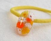 Ponytail Holder Millefiori Fused Glass Artisan Minnesota Handmade Hair Accessories Spicy Floral