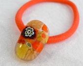 Ponytail Holder Millefiori Fused Glass Minnesota Artisan Handmade Hair Accessory Autumn Crackles