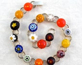 Bracelet Chain Link Jewelry Millefiori Fused Glass Adjustable Artisan Handcrafted Minnesota Handmade Wildflower Buds