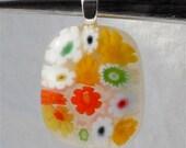 Millefiori Pendant Fused Glass Artisan Handcrafted Jewelry Citrus Garden