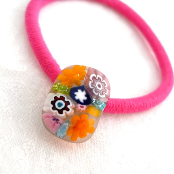 Millefiori Ponytail Holder Artisan Handcrafted Hair Accessory Fused Glass Vibrant Flowers