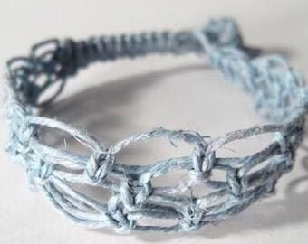 Light Blue Wide Hemp Cuff - Made to Order