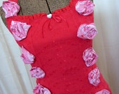 Red Eyelet Camisole Trimmed with Blooms of Red and White - Size M/L