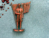 President James Knox Polk Brooch - Lapel Pin / Copper Color - Blue Green Verdigris Pin / 11th US President / Upcycled History Piece / OOAK