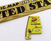 ALABAMA Brooch - Lapel Pin - Pendant / Yellow Wood Brooch / Upcycled Vintage 1961 Wood Puzzle Piece / Wearable History Pin / Gift Under 20