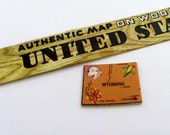 WYOMING Brooch - Lapel Pin - Pendant / Tan Wood Brooch / Upcycled 1961 Wood Jigsaw Puzzle Map Piece / Wearable History Pin / Gift Under 20