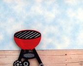 Grill Brooch - Lapel Pin / Red Kettle BBQ Grill / Red, Black, Gray - Grey / Barbeque Grill Wood Brooch / OOAK / GIft Under 15