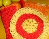 Citrus Color Cotton Cloths / Red - Orange - Yellow / Wash Cloth - Kitchen Cloth / Crochet Cloths / Set of 3 / Eco Friendly