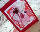 Thoughts of Love Card / No. 7 / Red - Pink - White - Purple / Handmade Papers / Hearts - Ribbons / Multiple Adornments / Original - OOAK