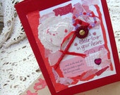 Thoughts of Love Card / No. 9 / Red, Pink, White / Handmade Papers - Ribbons - Sequins - Vintage Flower / Multiple Adornments Original Card