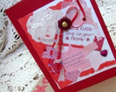 Thoughts of Love Card / No. 11 / Red - Pink  - White / Hearts / Handmade Papers / Flower - Beads - Ribbons / Original / OOAK