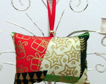 Christmas Merriment Ornament - Sachet / Gold - Red - Green - Cream Ornament / Lavender Sachet / Gift Under 15