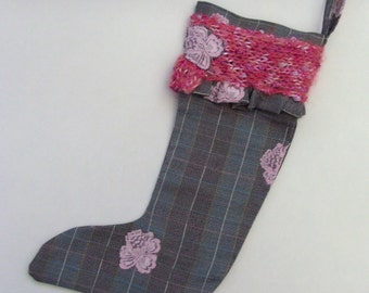 Business Suit Christmas Stocking / Feminine Gray - Pink Plaid Stocking / Pink Lace - Pink Yarn Trim / OOAK / Gift Under 20 / CLEARANCE