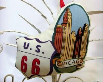 Route 66 - Chicago Illinois Ornament - Sachet / Sears Tower / Red - White - Blue / U.S. 66 Ornament / Lavender Sachet / Gift Under 15