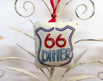 Route 66 Diner Ornament - Sachet / Red, White & Blue / Neon Sign Roadside Diner / Retro Road Trip Ornament / Lavender Sachet / Gift Under 20