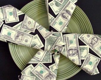 Money In Your Lap Napkins / Green, White & Black Napkins / Faux US Currency Napkins / Cash Print Napkins / Set of 4 / Gift Under 50