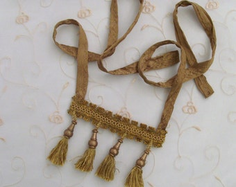 Gold Royal Fringe Textile Necklace / Gold Braid, Gold Wood Finials & Tassels / Silk Charmeuse / Unique Boho Fashion Under 25