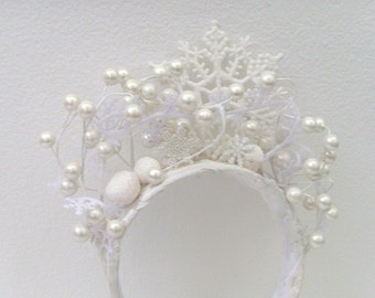 Winter Snow Queen Headband - Head Piece / White Snowflakes - Pearl White Berries / Winter Bride Wedding Fashion / MADE TO ORDER