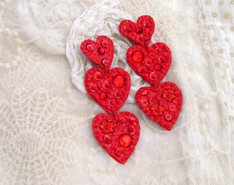 Dangling Red Hearts Earrings / Red Hearts Clip Earrings / Faux Gems - Sequins - Embellished Lightweight Paper / Valentine Love Earrings