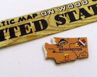 Washington Brooch - Lapel Pin / Upcycled Vintage 1961 Wood Puzzle Piece / Unique Wearable History Gift Idea / Timeless Gift Under 20