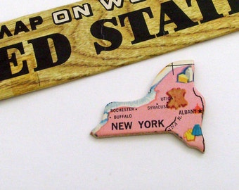 New York Brooch - Lapel Pin / Upcycled Vintage 1961 Wood Puzzle Piece / Unique Wearable History Gift Idea / Timeless Gift Under 20