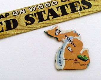Michigan Brooch - Lapel Pin / Upcycled Vintage 1961 Wood Puzzle Piece / Unique Wearable History Gift Idea / Timeless Gift Under 25