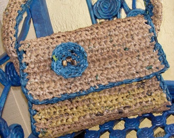 Crocheting With Plarn : crochet tan teal handbag crochet plarn purse flower beads adornment ...