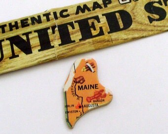 Maine Brooch - Lapel Pin / Upcycled Vintage 1961 Wood Puzzle Piece / Unique Wearable History Gift Idea / TImeless Gift Under 20