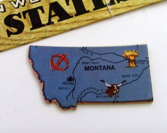 Montana Brooch - Lapel Pin / Upcycled 1961 Wood Puzzle Map Piece / Unique Wearable History Gift Idea / Timeless Gift Under 20