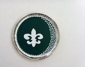 Round Fleur De Lis Chalkboard Tray / Green with White Writable Surface / Upcycled Decorative Silver Plated Tray / OOAK / Gift Under 25