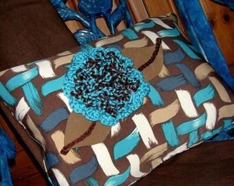 Lattice Print Pillow / Chocolate Brown - Turquoise - Cream - Caramel / Contemporary Print / Crochet Flower Trim / 12 x 16 / OOAK