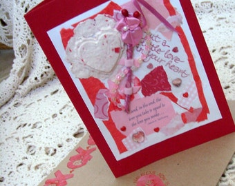 Thoughts of Love Card / No. 12 / Red - Pink - White / Hearts / Handmade Papers / Flower - Beads - Ribbons / Original OOAK