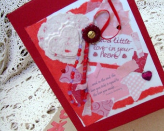 Thoughts of Love Card / No. 11 / Red - Pink  - White / Hearts / Handmade Papers / Flower - Beads - Ribbons / Original OOAK