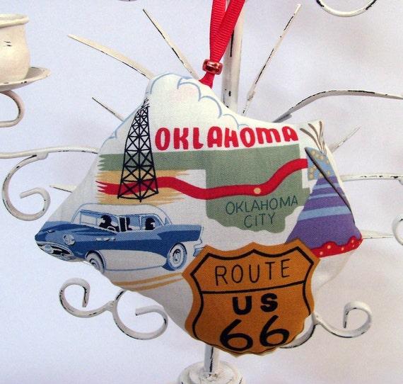 Route 66 Oklahoma Ornament - Sachet / Oil Derrick - Blue Buick / Gold, Green, Red, Blue, White Fragrant Sachet / Unique Gift Under 20