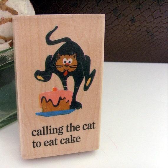 Vintage Cat - Cake - Cookies Wood Block  // 1970s // Natural Wood // Brown Monkey - Black Cat