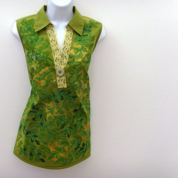 Green Maternity Blouse // Summer in Bloom // Handpainted Flowers - Vintage Trims // Cool Lime Green - Yellow