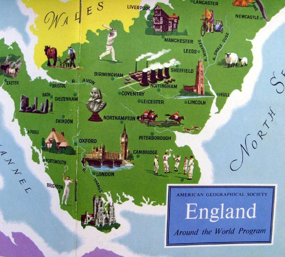 England History Book / 1950s Mid Century England History / Color Photo Plates / American Geographical Society / Green - Blue - Yellow