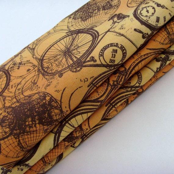 Bohemian Bicycles Napkins // Orange - Gold - Brown Ombre / Bikes Globes Timepieces Compass Global Postmarks Tour de France / Set of 4